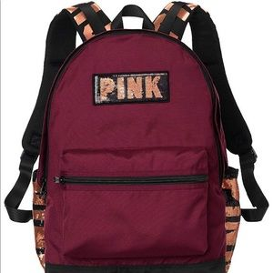 VS PINK Campus maroon ruby bling backpack NWT